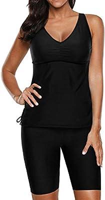 Yonique Black Racerback Tankini Swimsuits for Women V Neck Bathing Suit Tops with Swim Capris 2 Piece Athletic Swimwear M