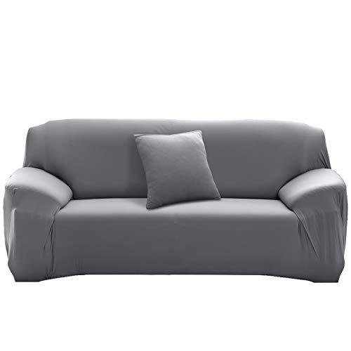 HALOVIE Housse de Canapé Extensible Protection du Sofa Universelle Revêtement de Canapé avec Taie d'oreiller Housse de Fauteuil Confortable dans Le Salon Chambre Maison Gris - 3 Places (195-230CM)