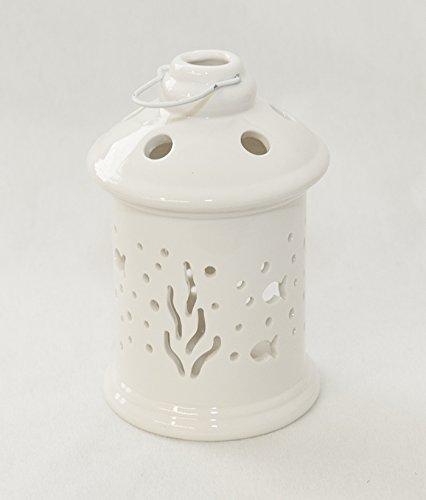 Laterne aus weißem Porzellan, Meer, 9,5 x 15 cm.