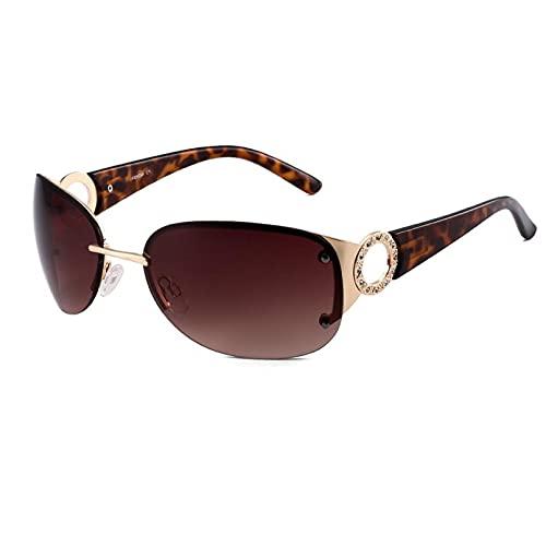 BAJIE Gafas De Sol Gafas De Sol Señoras Gafas Sin Montura Conducción Diamantes Diseño De Espejo Gafas De Sol Rosadas Lentes De Sol Mujer