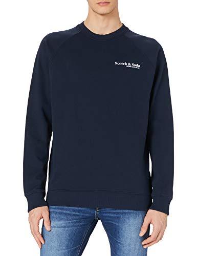 Scotch & Soda Herren Fil-Coupé-Shirt im Regular Fit mit Print Sudadera, 0002 Night, S para Hombre