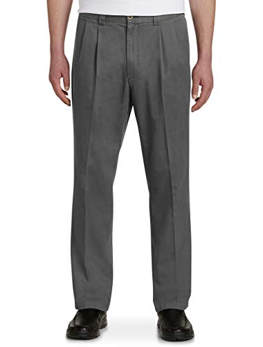 Harbor Bay by DXL Big and Tall Waist-Relaxer Pleated Twill Pants, Charcoal, 56 Regular/30 Inseam