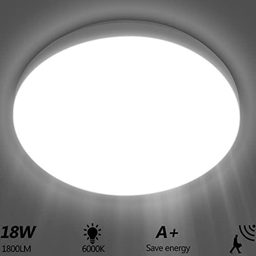 Viugreum Plafoniera LED Soffitto Con Sensore di Movimento, 18W 1800Lm Luce Bianca Freddo 6500K, Lampada da Soffitto con sensor a Microonde per Scala Corridoio, Balcone, Seminterrato, Garage