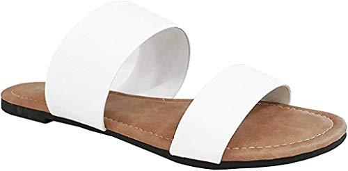 Charles Albert Double Strap Sandals for Women, Comfortable Vegan Flip Flops, White, 9