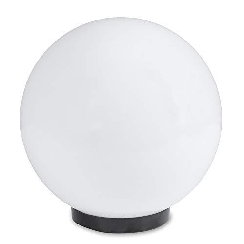 LHG Kugelleuchte 25 cm Ø, weiße Gartenlampe, Außenleuchte, schöne strahlend schöne Deko für Innen & Außen, Gartenbeleuchtung, Gartenkugel für Energiesparlampen E27 & LED - 230 V & 15W, Kugellampe mit IP44