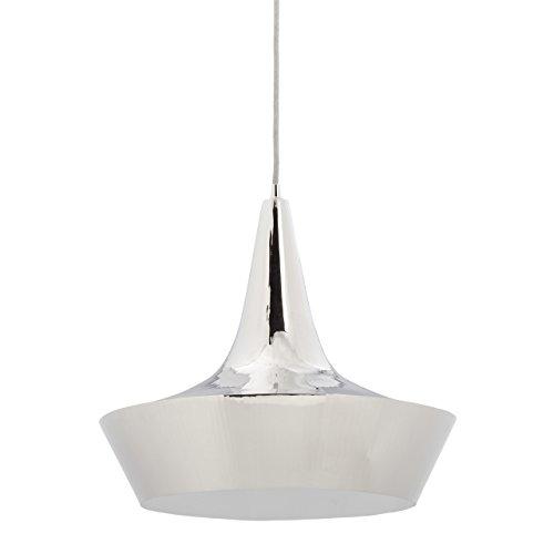 Relaxdays hanglamp zilver in jaren '70 look, nikkel hanglamp invlammig, Disco plafondlamp met 40 cm D