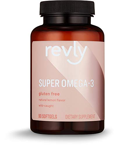 Amazon Brand  Revly Super Omega3 WildCaught Fish Oil with Natural Lemon Flavor  EPA DHA Omega 3Fatty Acids  90 Softgels 1280 mg per serving 2 Softgels Satisfaction Guaranteed