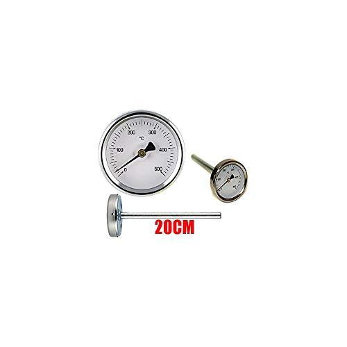 Termometro Forni A Legna - Barbecue E Fumi 0-500gr Con Sonda Rigida Da 20 Cm - Temperatura