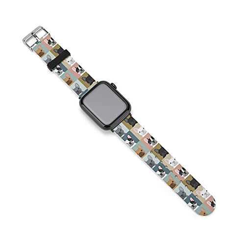 NiYoung Women Men French Bulldog Pattern Apple iWatch Band 38mm/40mm, 42mm/44mm, Duarable Stretchy Watch Bands Sport Bands, Silicone Sport Replacement Strap Business & Leisure