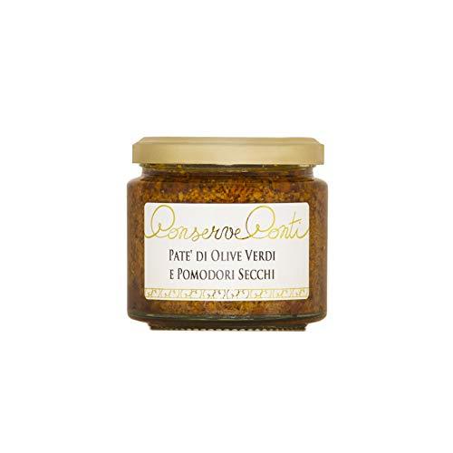 Patè di Olive Verdi e Pomodori Secchi in Olio Extravergine d'Oliva - 1 vaso da ml. 212 - produzione artigianale siciliana