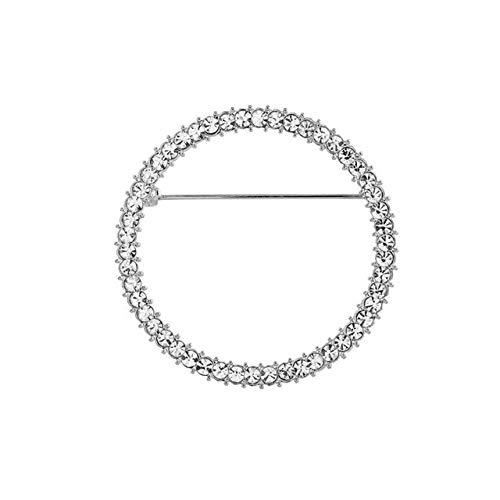 shuibaobao Broche simple y creativo de cristal, broche para cárdigan con tirantes fijos para ropa de vestir para mujeres y hombres, accesorios de joyería de regalo (color de metal: chapado en plata)