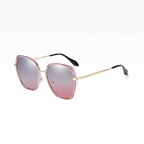 CDNS Gafas de Sol Nuevas Señoras Gafas de Sol Polarizadas Polygon Tendencia Moda Gran M Uv400 Protección Gris Gris Gradient Lente Espejo polarizado