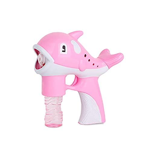 CREACEC Automatische Bubble Machine Licht Musik Kinder,Delfin Seifenblasenmaschine Kinder Seifenblasen Pistole Sommer Blasenspielzeug Im Freien,Rosa