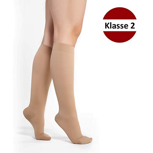 RIEMTEX® Medizinische abgestufte Kompressionsstrümpfe Klasse 2 CCL2 geschlossene Spitze Kniestrümpfe nahtlos für Damen und Herren Beige (Größe 3)