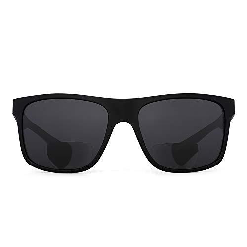 Gafas de sol bifocales JM para hombres, mujeres, gafas de lectura cuadradas vintage, montura negra, lente gris +1.25