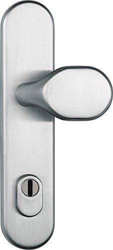 ABUS Tür-Schutzbeschlag HLZS814 ER edelstahl mit Zylinderschutz & beidseitigem Drücker rund, 12229
