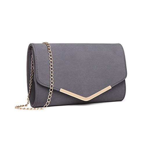 Miss Lulu Elegante Kettentasche Damen Tasche Clutch Bag Handtasche Hochzeit Abendtasche Umhängetasche Mädchen (LH1756 Grau)