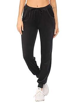 Ekouaer Womens Pants Sweater Fuzzy Fleece Velour Trackpants Workout Running Sports Wear Plus Size Black XXL