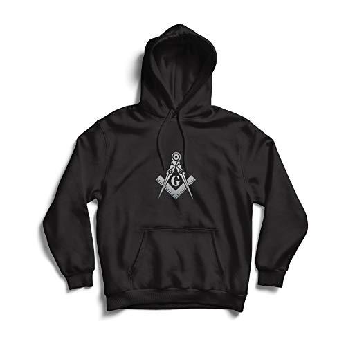lepni.me Sudadera con Capucha Albañiles (masones) - Accesorios para Hombres con los símbolos escuadra y el compás Masónico (X-Large Negro Plata)
