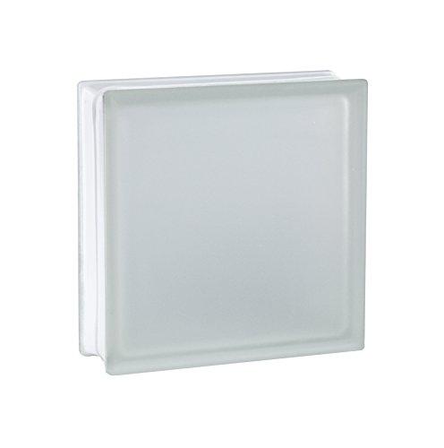 5 Stück FUCHS Glassteine Riva Weiß 2-seitig satiniert (Milchglas) 24x24x8 cm