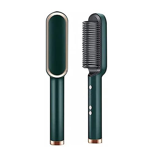 Escova Secadora Profissional Seca Alisa E Modela Cabelo Comb, penteadeira de cerâmica quente, aquecimento rápido 20 anos e 5 configurações de temperatura e anti-escaldadura (Verde)