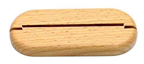 3 Stück Doppel-Rosette für Heizungsrohre, ohne Lochung, zweigeteilt – zum Zusammenstecken zur nachträglichen Montage, Echtholz, Abdeckung für Heizungsrohre, Heizung, Holz (Buche)