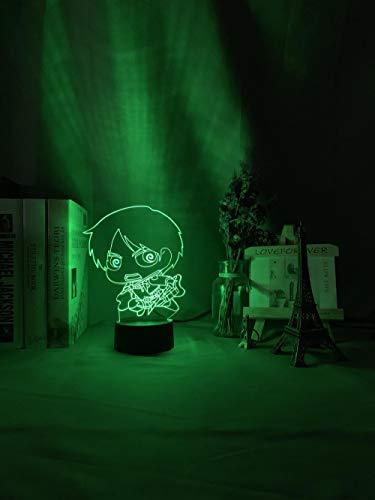 Luz de noche para niños Eren Yeager Chibi Figura para decoración de dormitorio Luz de noche Regalos de cumpleaños para niños Attack on Titan Manga lámpara 7 colores modo táctil