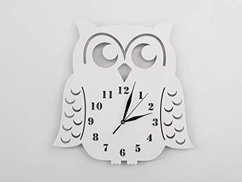 BABEES Kinder Wanduhr EULE, Uhr ohne Tickgeräusche, Kinderuhr für Kinderzimmer, Lautlos Uhrwerk, Wanddeko Skandi Deko (Weiß)