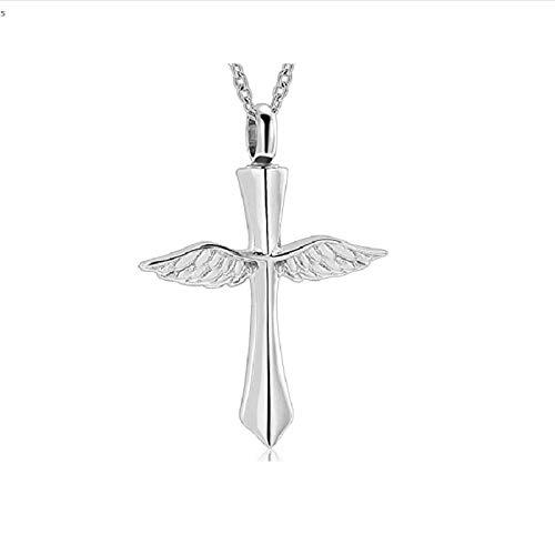 KXBY Collar De Cremación De Cruz De ala De Ángel De Acero Inoxidable para Las Cenizas De La Amada Joyería Conmemorativa De La Urna De Recuerdocenizas Colgante Conmemorativo