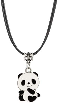 Winssi Cute Panda Necklace with Black Cord Panda Jewelry Gift for Teen Girls and Boys Baby Panda product image