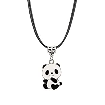 Winssi Cute Panda Necklace with Black Cord Panda Jewelry Gift for Teen Girls and Boys  Baby Panda