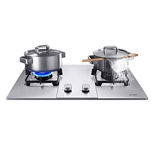 YGB Gas Stove,Built-in 2 Burner 72CM Stainless Steel Hob/Cooker/Cooktop ,With FFD And Enamel Pan Stands,Easy To Clean, Compatible With All Cookware [Energy Class A] (Color : LPG)