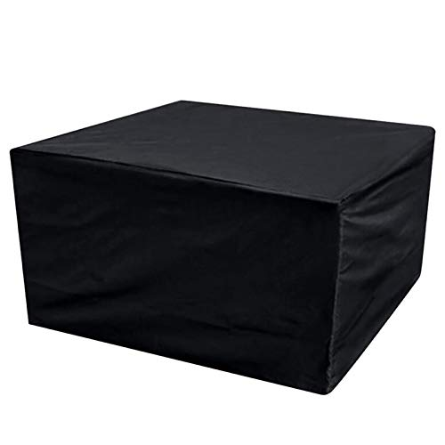 MEEYI Garden Furniture Covers Waterproof 110x110x70cm, Rectangular Waterproof, Breathable, UV Protection Patio Table Cover, for Tables, Stackable Chairs Outdoor Furniture Protector. - Black