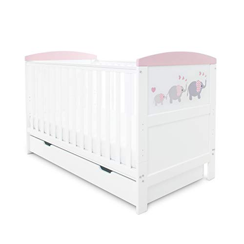 Ickle Bubba Coleby Style Cot Bed, Under Drawer and Foam Mattress - Elephant Love Pink