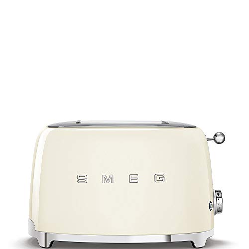 Smeg TSF01CRUK Retro 2 Slice Toaster, 6 Browning Levels, Extra-Wide Bread Slots, Defrost and Reheat Functions, Removable Crumb Tray, 950 W, Cream