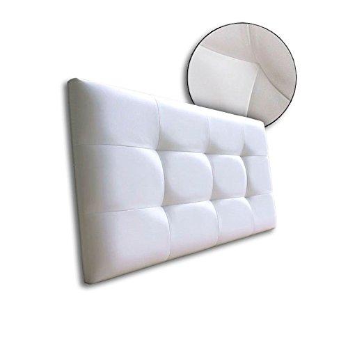 Ventadecolchones - Cabecero de Cama Tapizado Acolchado de Dormitorio en Polipiel con capitoné Modelo Tablet Blanco y Medidas 91 x 70 cm para Camas de 80 ó 90