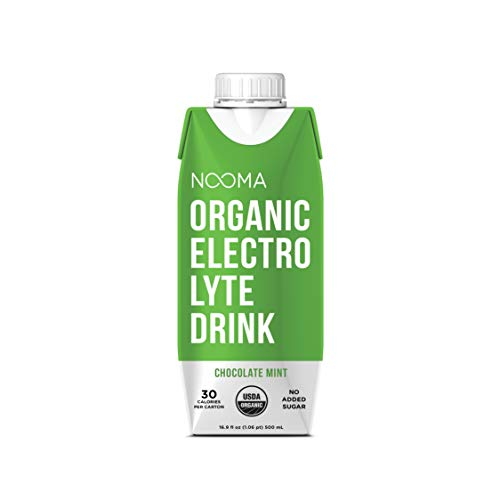 NOOMA Organic Electrolyte Sports Drink | Naturally Effective Workout Hydration | Certified Keto, Vegan, Gluten Free & More | No Added Sugar, 30 Calorie | Chocolate Mint, 16 Fl Oz (Pack of 12)