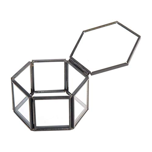 Jewelry Box, Multifunctional Durable Hexagonal Glass Container Box Jewelry Storage Box Ring Earring Necklace Storage Box-Noir + Transparent