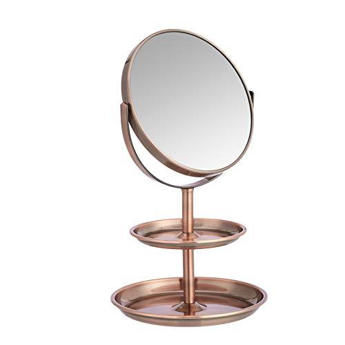 AmazonBasics – Kosmetikspiegel mit doppelter Ablage, Vergrößerung 1-fach/5-fach, bronzefarben