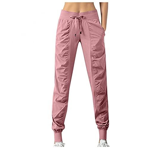 BIBOKAOKE Pantalones de chándal para mujer, de secado rápido, con bolsillos, con cordón, para entrenar, para correr o para el tiempo libre., Rosa19., XXL