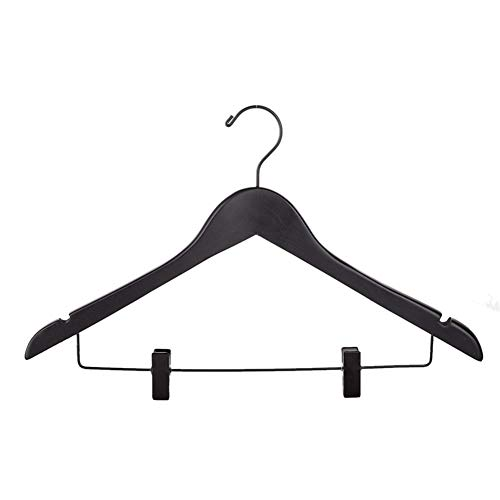 ClearloveWL Grucce 5Pcs / Lot, Suits Deluxe Nero Spesso Legno Cappotti Indumento Gancio Rack con Clip, Heavy Duty Abbigliamento Hotel Hanger 2 Centimetri di Spessore