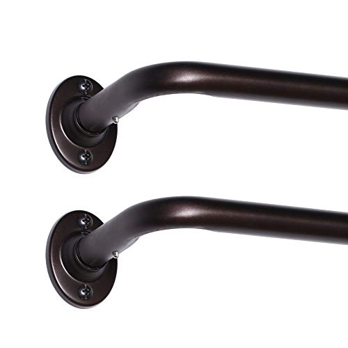 2 Pack Single Curtain Rods Wrap Around Curtain Rods Set Room Darkening Wrap Curtain Rods for Windows 28 to 48 Inch, 5/8 Inch Diameter, Bronze
