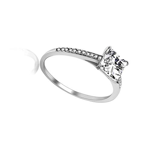 Juego de puntas clásicas de corte princesa para mujer con diamante simulado solitario