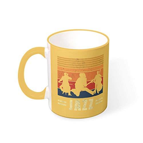 O3XEQ-8 Taza de té con asa de porcelana, humor, regalo de vacaciones, Navidad, traje para oficina, rod dorado, 330 ml