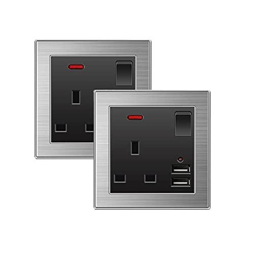 Enchufe de doble interruptor USB, enchufe de pared de 13 A, enchufe de pared estándar británico para hogares, oficinas y lugares de trabajo