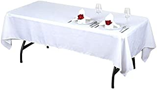 BalsaCircle 10 pcs 60x102-Inch White Rectangle Polyester Tablecloths Table Cover Linens for Wedding Party Events Kitchen Dining