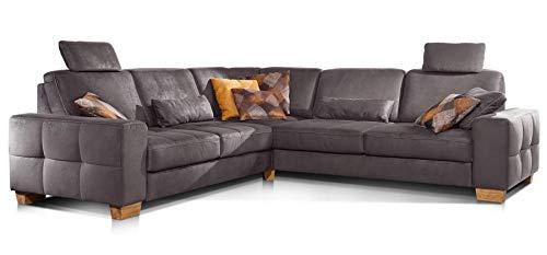 Cavadore Ecksofa Puccino mit Federkern, verstellbaren Sitztiefen und 2 Kopfstützen, Couch gleichschenklig in L-Form im Landhausstil, 276 x 86 x 271 cm, Mikrofaser braun