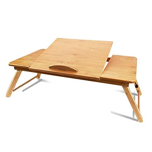 HYYYH Soporte para portátil Plegable Bandeja de Cama Plegable para Servir Desayuno con Tapa inclinable y cajón, bambú (Color : Multi-Colored, Size : 72 * 34cm)