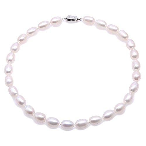 JYX Perlenkette AA + Qualität 9-10mm weiße ovale Süßwasser-Zuchtperlenkette