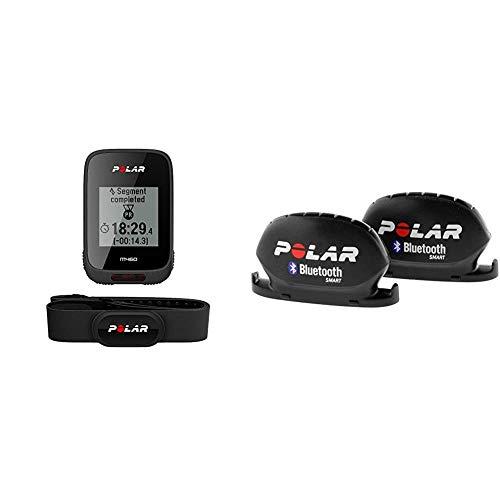 Polar M460 Hr, Bike Ciclocomputer con GPS Integrato e Fascia Cardio H10 Misura M-XXL: 65-93 cm, Nero + Polar 91053157 Sensore di Cadenza e Velocità Bluetooth Smart, Unisex Adulto, Nero, Taglia Unica